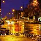 Wet Street in Melbourne, Australia by jamjarphotos