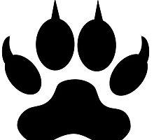 Black Wolf Paw Print by kwg2200