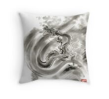 Wind dragons sumi-e ink painting dragons art Throw Pillow
