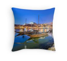 The boats of Porto Throw Pillow