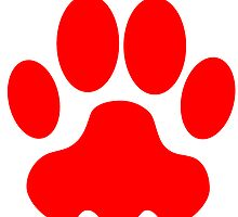 Red Big Cat Paw Print by kwg2200