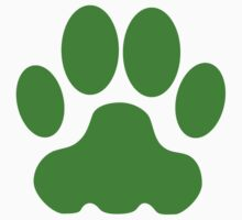 Green Big Cat Paw Print T-Shirt