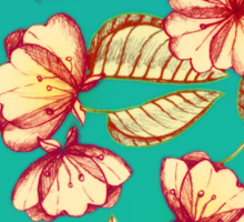 Rust & Teal Floral Pattern Sticker