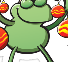 Christmas Decorations for a Frog Sticker