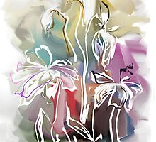 brunch of abstract stylized flowers illustration  by Teni