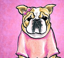 Pink Bow Bulldog by offleashart