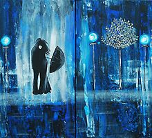 Sapphire Rain Romance Original Painting by Amber Elizabeth Lamoreaux