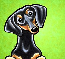 Dachsund Smooth Black/Tan Lime by offleashart