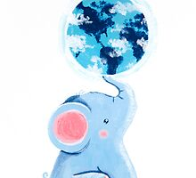Good Luck Elephant - Rondy holding planet Earth by oksancia