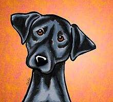 Black Lab Listen Up Orange by offleashart