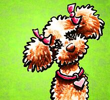 Apricot Poodle Girly Pigtails Green by offleashart