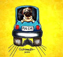 Pug-Mobile Yellow by offleashart