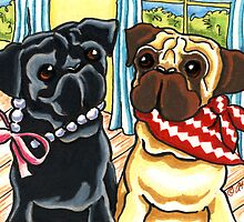 City Pug and Country Pug Summer Social by offleashart
