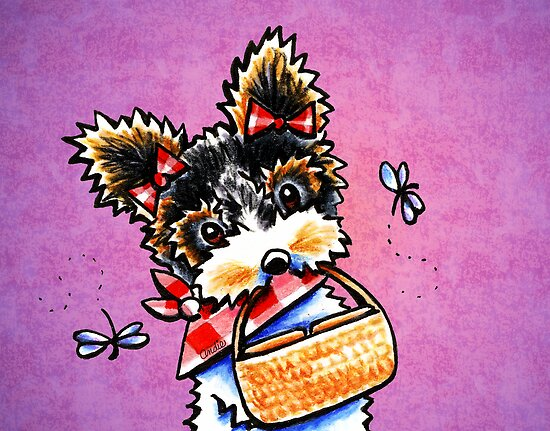 Biewer Yorkie with Picnic Basket Purple by offleashart