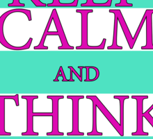 KEEP CALM AND THINK OF THE BEACH - Turquoise/Pink Sticker