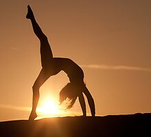 Yoga Poses at Sunset 3 by JonWHowson