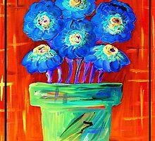 Blue Flowers on Orange by EloiseArt