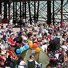 Crowds on the beach at Airbourne in Eastbourne by Keith Larby