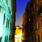 Venice Night Canal by David J Baster