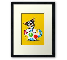 Biewer Yorkie Polka Dot Cup Framed Print