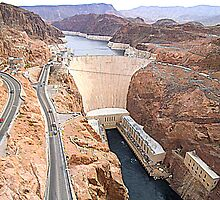 Hoover Dam from Bridge by j9mayer