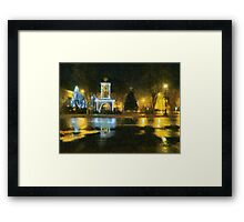 Town Square on December Night Framed Print