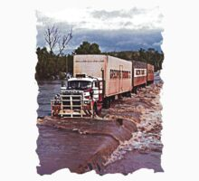 Truck crossing Ord River, West Australia  in Flood by Julia Harwood