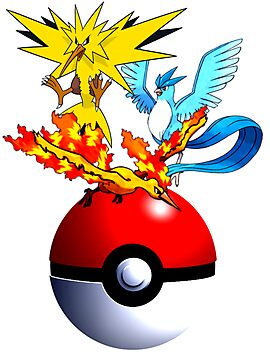 Zapdos, Articuno, and moltres , With pokeball by linwatchorn
