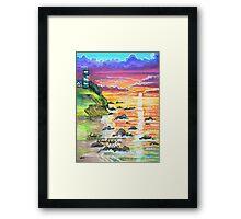 rocky beach sunrise Framed Print