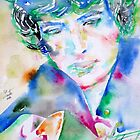BOB DYLAN playing the GUITAR - WATERCOLOR PORTRAIT by lautir