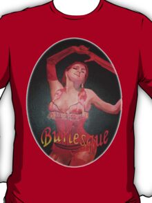 Burlesque Dancer Wearing Vintage Red Corset and Gloves T-Shirt