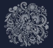 Jacobean-Inspired Light on Dark Grey Floral Doodle Kids Clothes