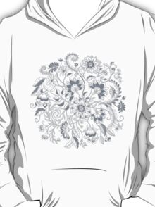 Jacobean-Inspired Light on Dark Grey Floral Doodle T-Shirt