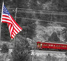 Cyrus K. Holliday Rail Car and USA Flag BWSC by Bo Insogna