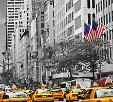 yellow cabs on 5th Ave with Stars and Stripes  by jalfc46