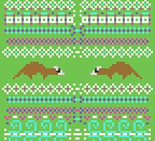 Pixel / 8-bit Ferret Pattern by Kadoodles