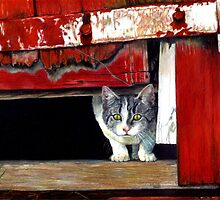 Grey And White Cat In Barn  by Oldetimemercan