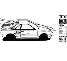 Toyota AW11 MR2 - AERO - PRINT by Lindsay Thebus