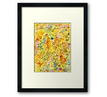 Abstract Background with Spirals on Yellow Green Pink Framed Print