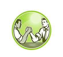 Businessman Office Worker Arm Wrestling by patrimonio