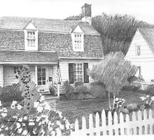 Garden cottage drawing by Mike Theuer