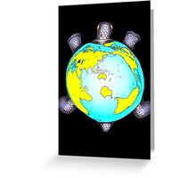 Turtle Shell World Map Greeting Card