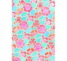 Pastel Tropical Floral Pattern Design with watercolor texture Photographic Print