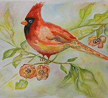 Cute Bird Cardinal by ArtByRuta