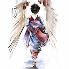 Geisha Japanese woman in kimono original Japan painting art by Mariusz Szmerdt