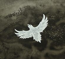 White Crow original painting by CrowRisingMedia