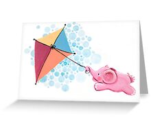 Kite Flying - Rondy the Elephant in the sky Greeting Card