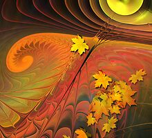 Autumn Sun, abstract fractal mixed media art by walstraasart