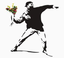 Banksy Flower Bomb Graffiti Street Art Mens by porsandi
