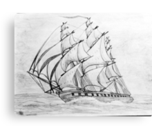Graphite  Pencil Sketch of a Clipper Ship at Top Speed Canvas Print